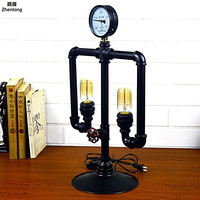 Vintage Iron Art Industrial Wind Water Pipe Table Lamp DIY Creative Robot Decorative Lighting Home Bar Internet Cafe Hotel Light|Desk Lamps|Lights & Lighting -