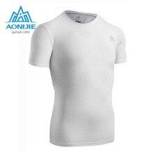 AONIJIE Hombres Camisa Aptitud de Los Hombres Medias de Compresión de Manga Corta T Camisa Para Hombre Ropa de Secado rápido Corriendo T-shirt de Fitness Desgaste