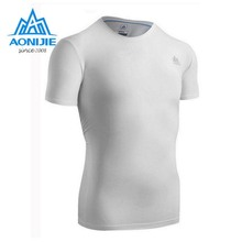 AONIJIE Men Short Sleeve Compression Shirt Fitness Men Tights T Shirt Mens Quick Drying Clothes Running Tee Shirts Fitness Wear