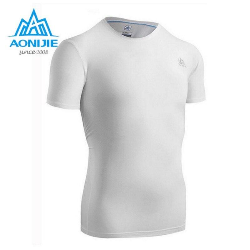 AONIJIE hommes à manches courtes Compression chemise Fitness hommes collants T Shirt hommes séchage rapide vêtements course t-shirts vêtements de Fitness
