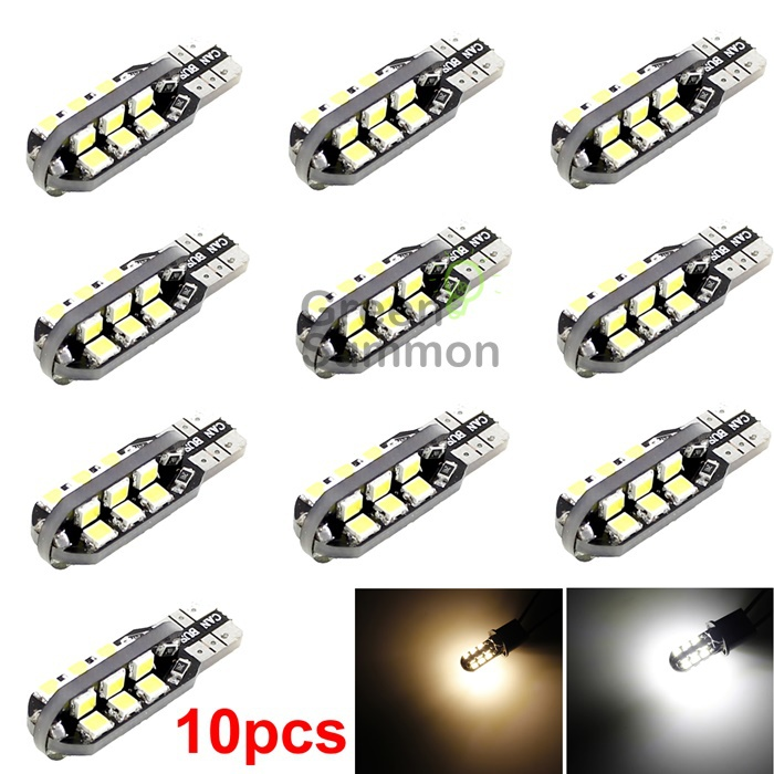 10x Warm / White T10 24smd Car Side Wedge Light Dome Map Bulb W5W 194 168 2835 cnsunnylight 10pcs canbus t10 w5w 168 194 smd led car wedge side mini bulb lamp for car tail parking dome door map light 5500k