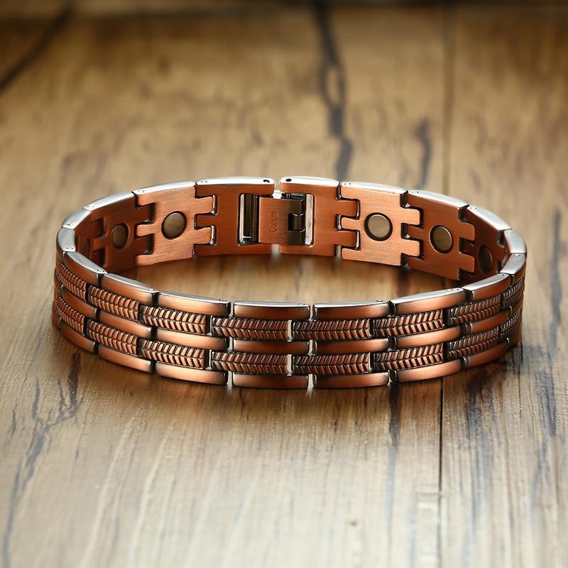 Pure Copper Magnetic Therapy Bracelets Mens Pain Relief Arthritis Carpal Tunnel Adjustable Bangle Bileklik Erkek
