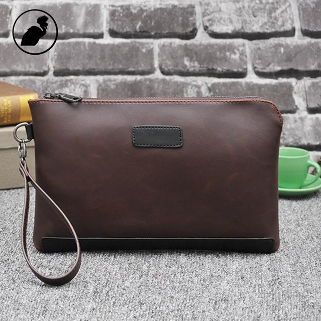 ETONWEAG Famous Brands Cow Leather Wallet Men Clutch Bags Brown Vintage Travel Organizer Wallets Business Style Phone Coin Purse