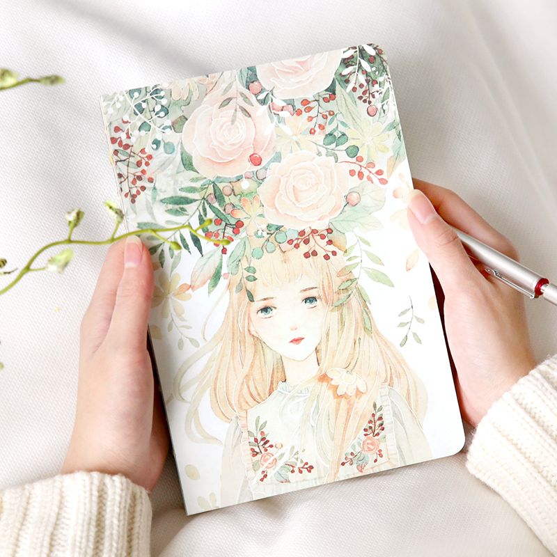 The wreath girl hand-painted blank page hand books beautiful graffiti the sketch book diary stationery new diy graffiti page by page lamp table calendar light