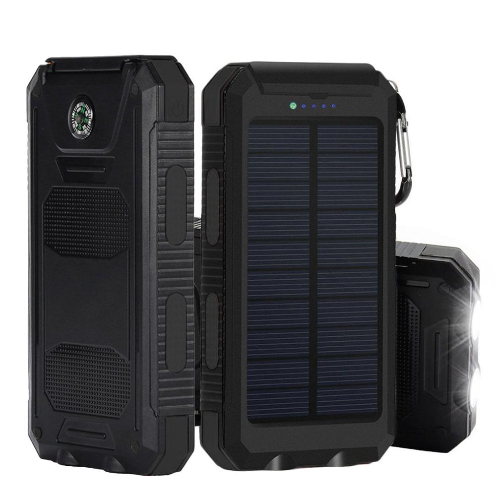 imágenes para Cargador Solar, portátil 10000 mAh Dual USB Cargador de Batería Solar Cargador de Teléfono Batería Externa Power Bank con Linterna