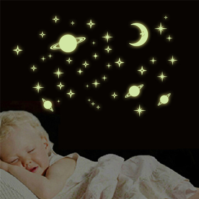 Creative 3D Universe Moon Star Wall Stickers Night Glow In Dark Luminous Wall  Decals For Baby