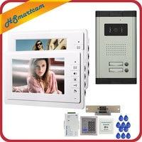 7 Inch Video Intercom Door Phone 2 White Monitors Doorbell Camera For 2 Family Apartment RFID
