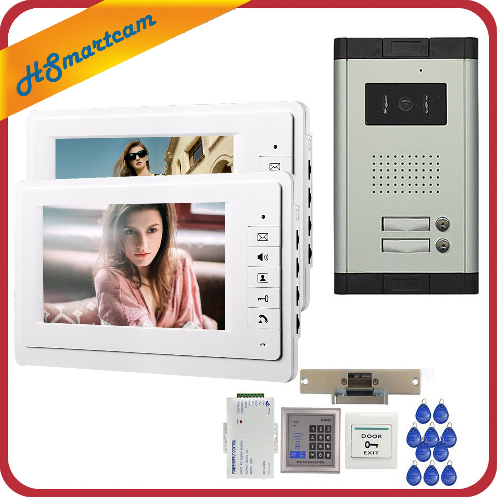 7 inch Video Intercom Door Phone 2 White Monitors Doorbell Camera for 2 Family Apartment + RFID Access System FREE SHIPPING 1v3 doorbell camera 2 4ghz video wireless videocitofono video door phone with 3 indoor monitors for door access security