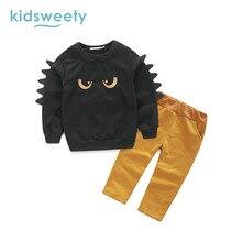 Kidsweety Enfants Définit Coton Monstres de Bande Dessinée Garçons À Capuche Pantalon Unisexe Enfant Costumes Filles T-Shirt Pantalon Pull Twinset Enfant Ensemble