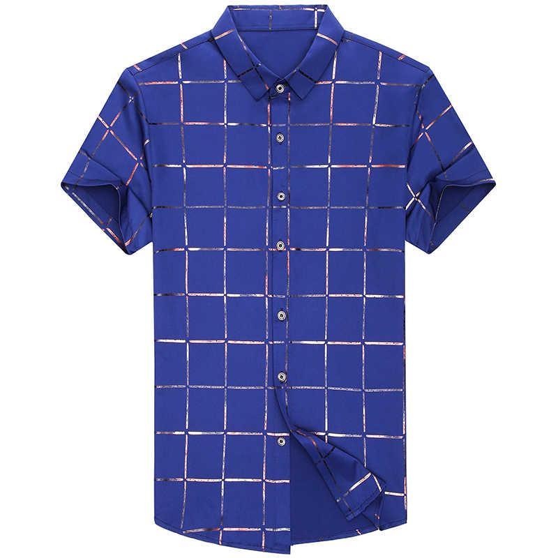 2019 marca casual Verano de lujo plaid de manga corta ajustado fit hombres camisa streetwear vestido social camisas hombres moda jersey 51512