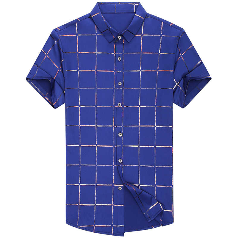 2019 брендовая Повседневная летняя обувь Роскошный плед с коротким рукавом slim fit Мужчины рубашка уличной социальных рубашки мужские модные Джерси 51512
