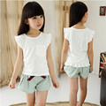 Summer new big girls clothes set flying sleeve white cotton Linen o neck t-shirt+ casual shorts for girls kids casual suits