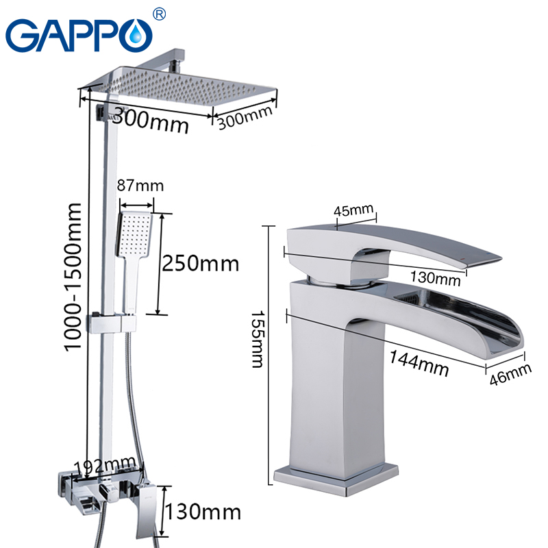 Image 2 - GAPPO Shower system basin faucet brass wall mounted shower sets deck mounted basin sink faucet chrome polished tapsShower System   -