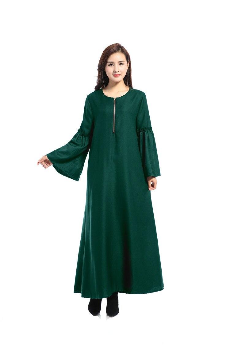 Les nouvelles caractéristiques de robe musulmane à manches longues des robes lâches arabes couleur Pure lumière du soleil chanvre dimanche vêtements - 5