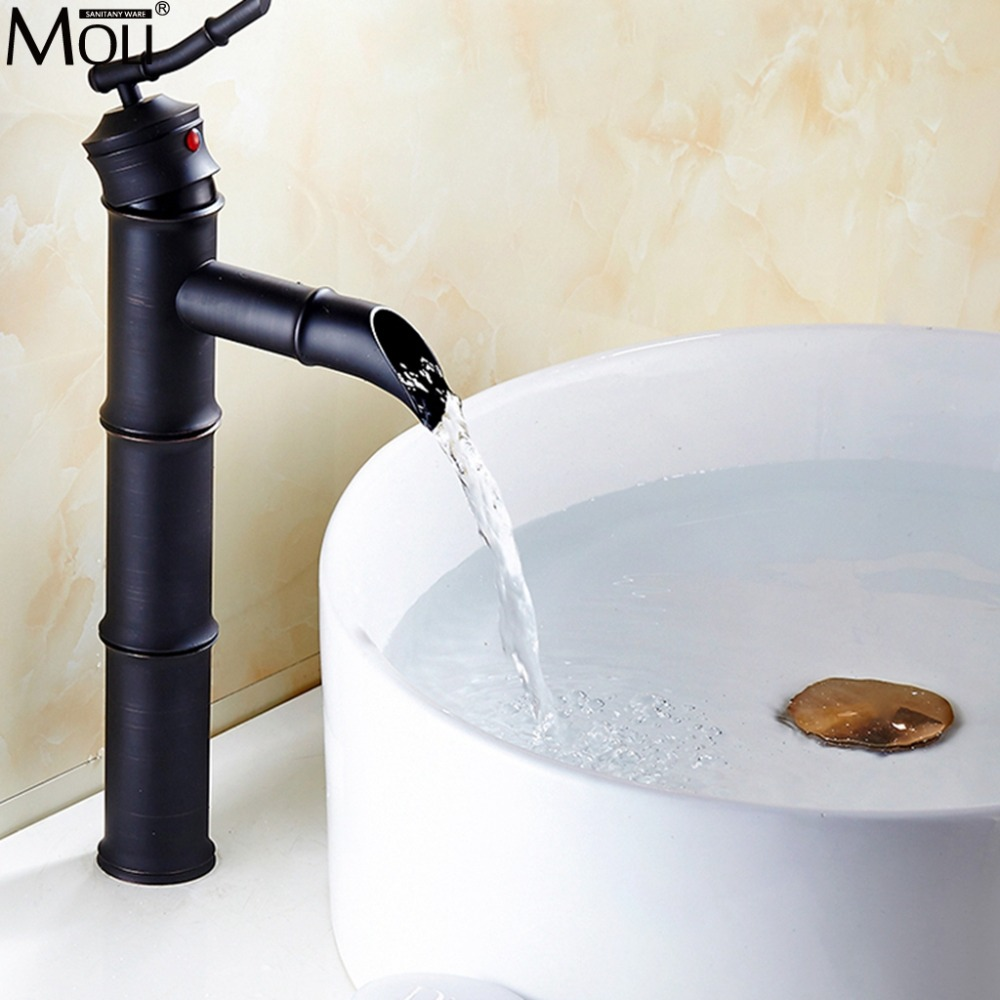 Black Sink Faucet Bamboo Basin Sink Mixer Crane Hot and Cold Water Tap Tall Faucets Vessel