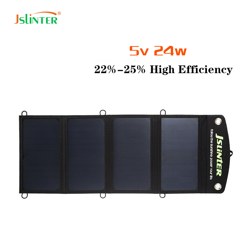 JSLINTER Higher Efficiency 5V 2.4A Solar Charger Dual USB Outputs Portable Solar panel 24W Fast Charging for Power Banks