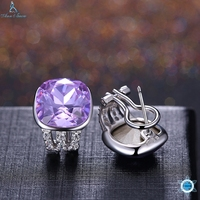 Popular 925 Sterling Silver 5 Colors Square Cubic Zirconia Stone Austria Crystal Classic Clip Earring Women Jewelry brinco