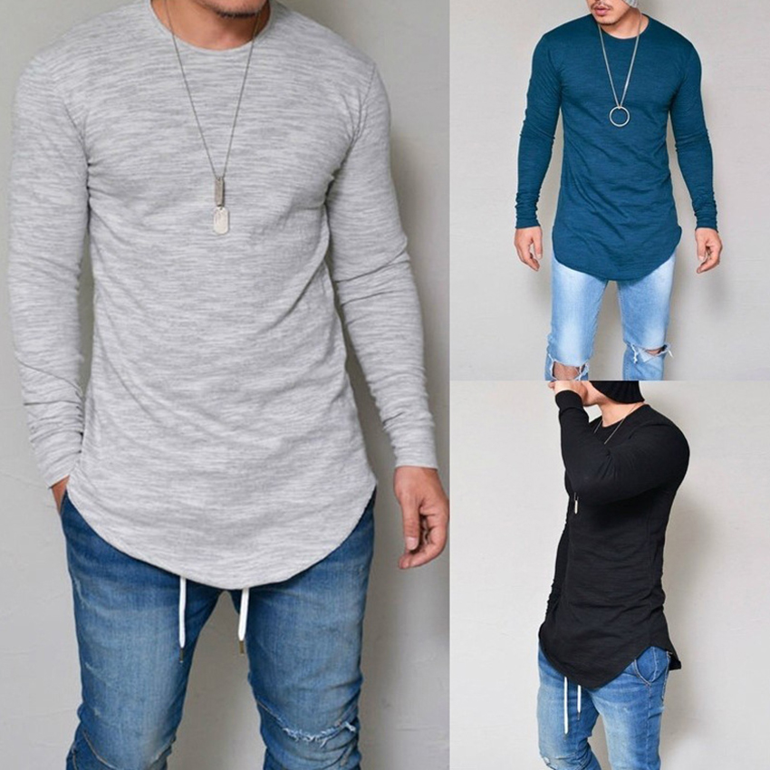 Plus Size S-4XL 5XL Men Fashion Casual Slim Elastic Soft Solid Long Sleeve Men T Shirts Male Fit Tops Tee Longline t-shirt(China)