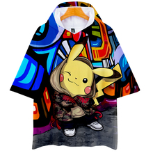 LUCKYFRIDAYF 3D Pikachu fashion Hoodies Short Sleeve Hip Hop Fashion Kpop Casual Summer/Autumn Soft Sweatshirts