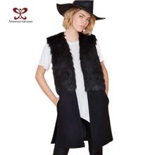 Women Winter Vest Jackets Faux Fur Woolen Stitching Black Fashion Casual Slim Long Wool Vest Jacket Coat Female 2016 New NC-442