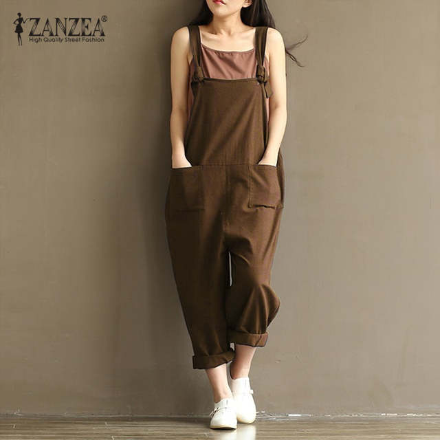 291a5ab758e Online Shop ZANZEA Rompers Womens Jumpsuits 2018 Casual Vintage Sleeveless  Backless Casual Loose Solid Overalls Strapless Plus Size Playsuit