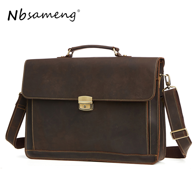 NBSAMENG Men Genuine Leather Messenger Bags Man Crossbody Shoulder Bag Business Tote Briefcases Cow Crazy Horse Leather Handbag men and women bag genuine leather man crossbody shoulder handbag men business bags male messenger leather satchel for boys