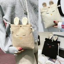 Women Shoulder Bag Cute Cartoon Linen Rabbit Messenger Bags Fashion Female Crossbody Clutch Purse Cell Phone Travel