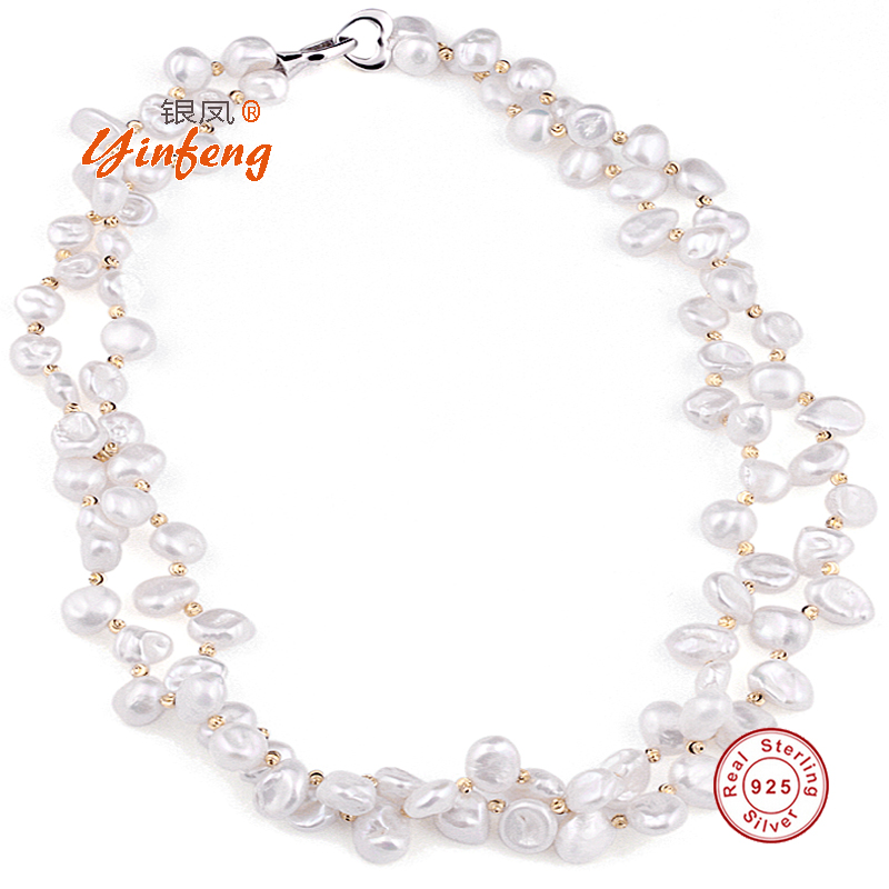 [MeiBaPJ] Luxury style Baroque Pearl Beads necklace Double chains 45cm long with 925 sterling silver heart clasp Party Jewelry