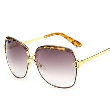 D Style New Vintage Oversized Oval Women Sunglasses Alloy Frame Gradient Lens Sunglasses Eyewears Oculos De Sol Feminino Lunette