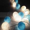Luz CONDUZIDA Da Corda 2 metro 20 led luz cordas + 20 pcs bola de algodão globo bateria iluminação do feriado de natal festa guirlanda de natal decoração