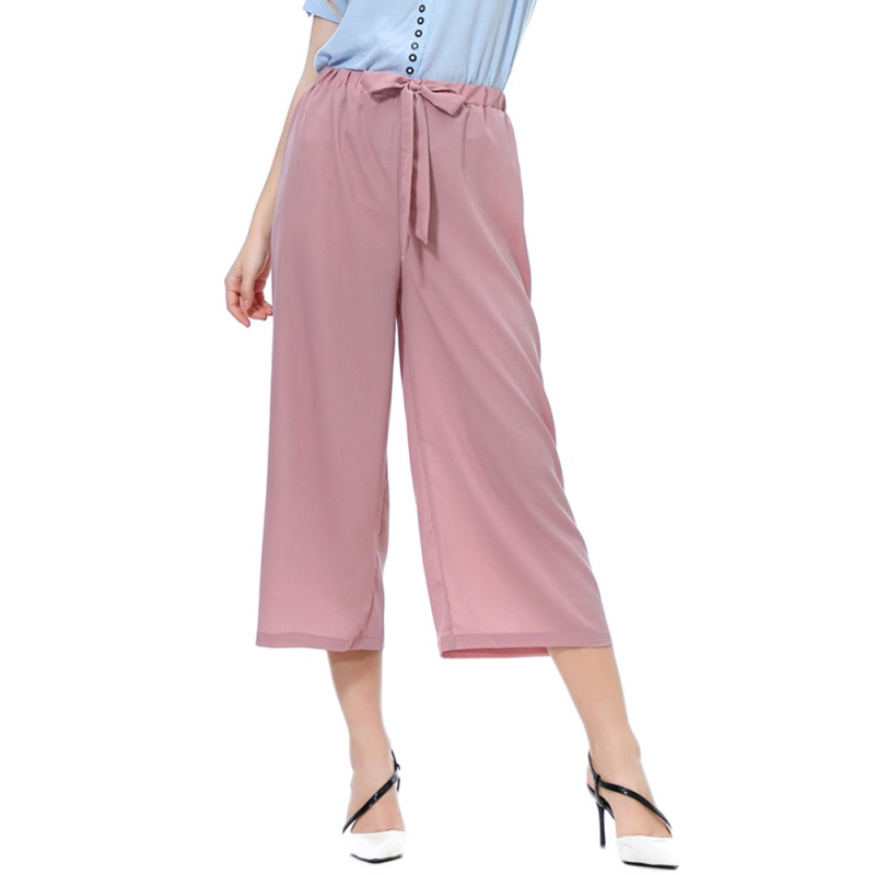 Summer   Wide     leg     pants   beach high waist trousers chic streetwear bow eight points casual   pants   women