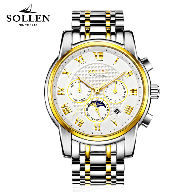 SOLLEN Watch Men Skeleton Automatic Mechanical Watch gold skeleton vintage watchskeleton man watch Mens Watch Top Brand Luxury купить недорого в Москве
