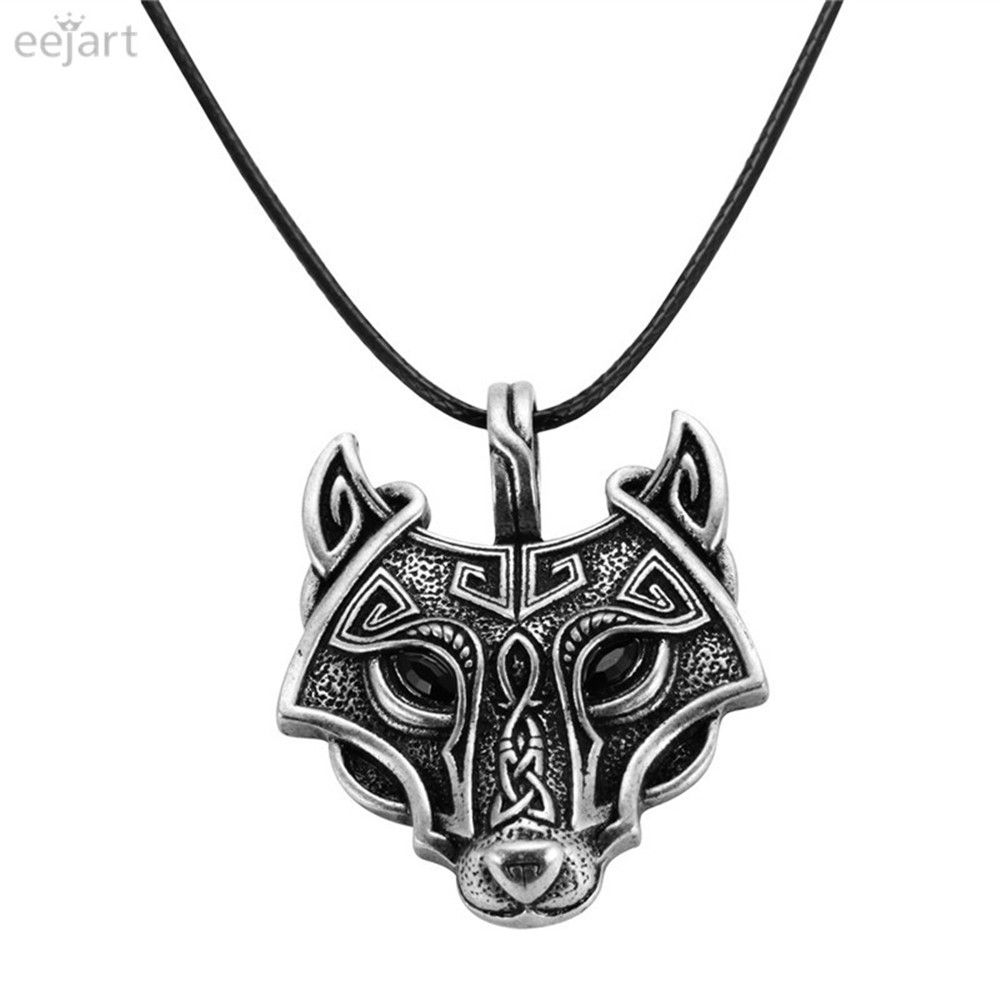 Norse Vikings Pendant Necklace Norse Wolf Head Necklace Original Animal Jewelry Wolf Head hange