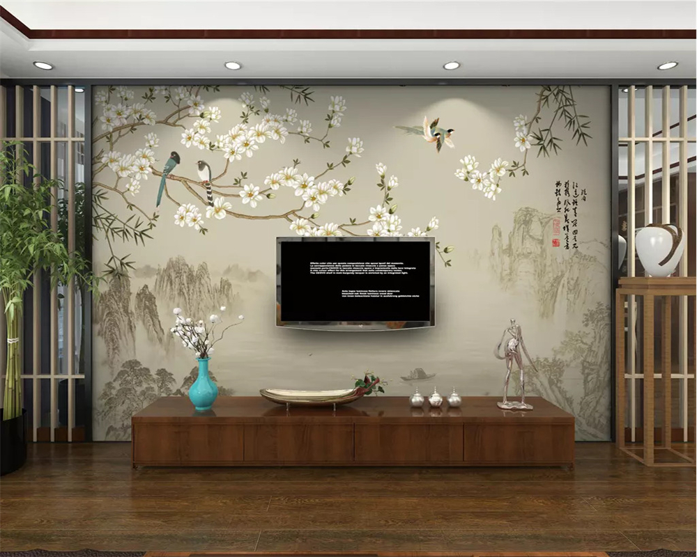Hard-Working Beibehang Custom Fashion Decorative Painting Papel De Parede 3d Wallpaper New Chinese Simple Magnolia Bird Bamboo Tv Background To Be Renowned Both At Home And Abroad For Exquisite Workmanship Home Improvement Skillful Knitting And Elegant Design Wallpapers