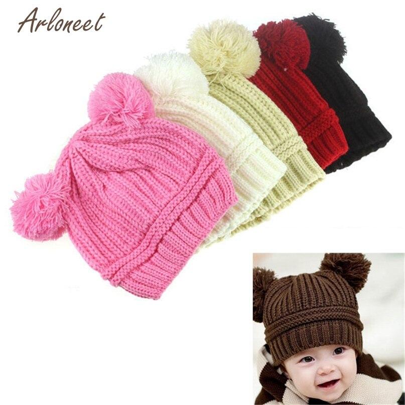 Telotuny 5 цветов милые детские для девочек и мальчиков двойной шары теплая зима вязаная Кепки шапка Beanie Мода Дизайн падение поставляется ST25