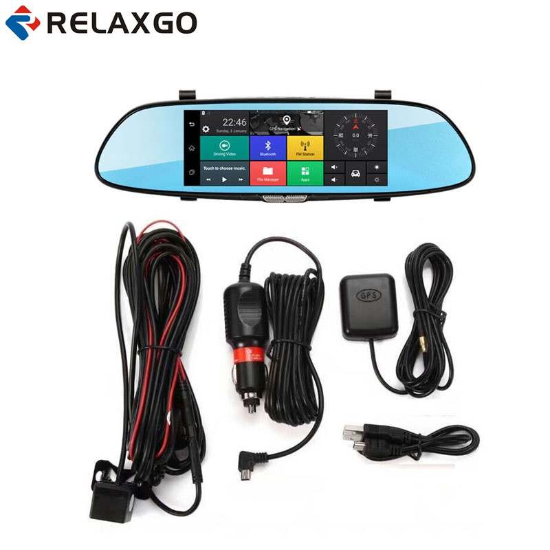 Relaxgo New 3G 7 Android Car DVR GPS Navigation Bluetooth Rearview Mirror Car Camera Wifi Dual Lens Dash Cam Video Recorder hot sale android 5 0 car dvr wireless 3g wcdma b1 2100 dual lens camera rearview mirror gps navigation 7 0 ips touch screen