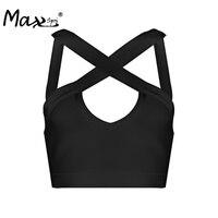 Max Spri 2017 New Women Off Shoulder Criss-cross Halter Summer Top Sleeveless Backless Lady Bandage Crop Top