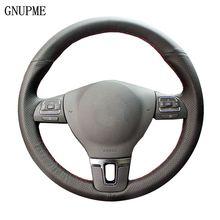 цена на Black Artificia Leather Car Steering Wheel Cover for Volkswagen VW Golf 4 Passat B5 1996-2015 Seat Leon 1999-2015 Polo 1999-2015
