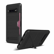 For Samsung Galaxy S10 Luxury Hybrid Holder TPU Hard PC Wallet Mobile Card Slot