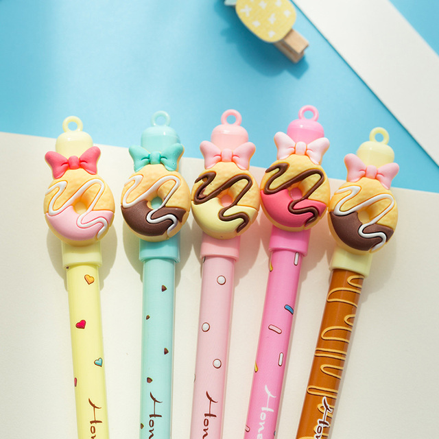 2+50/Set 0.5mm Cute Donuts Ballpoint Pens Kawaii Erasable Pens Blue Ink Ball Pens For Girls Writing School Supplies Stationery 2