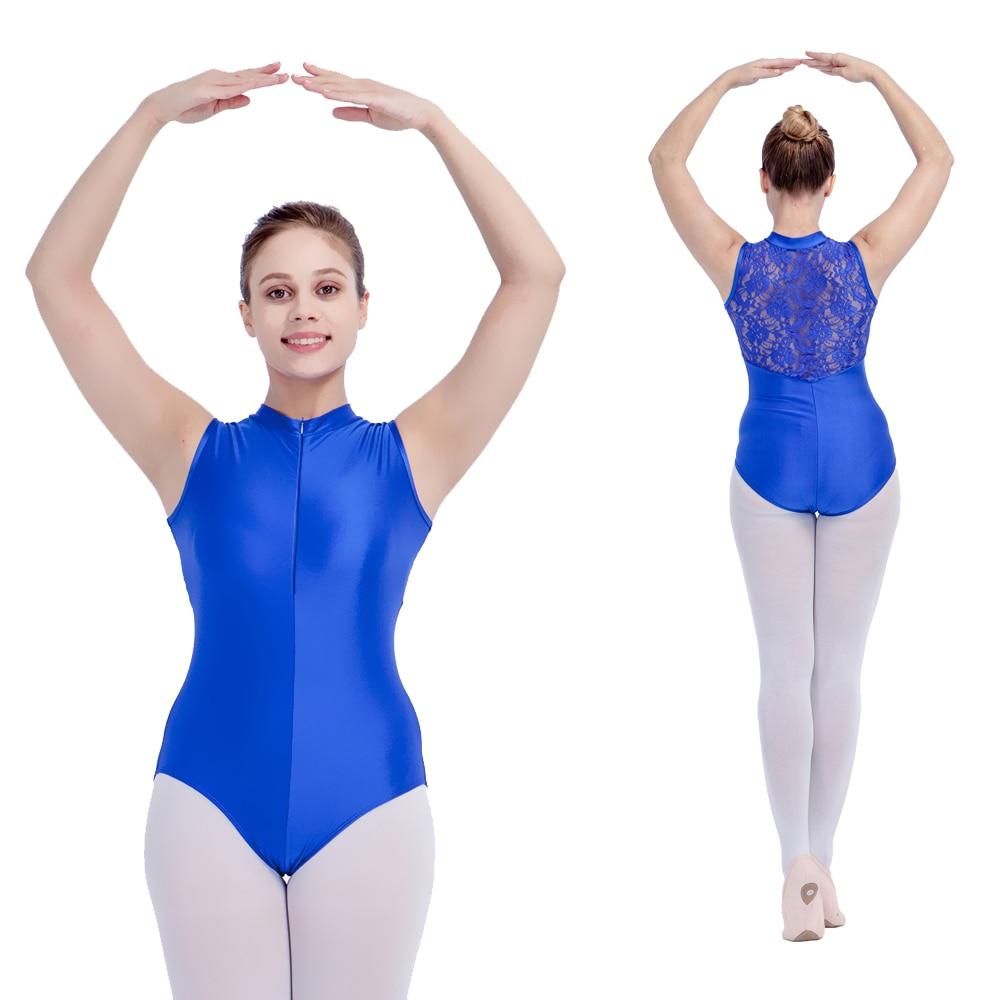1b72c7e12ba3 Royal Blue Shiny Lycra Lace Turtle Neck Ballet Dance Leotard Zipper Front  Lace Back Dancing Costume Full Sizes