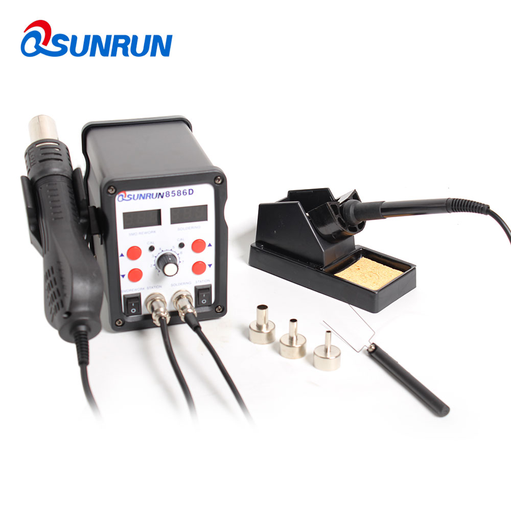 2-in-1 Digital Display BGA/SMD 8586D Hot Air Rewock Station,Soldering Station,Hot Air Gun&Electric Soldering Iron,Replace The IC