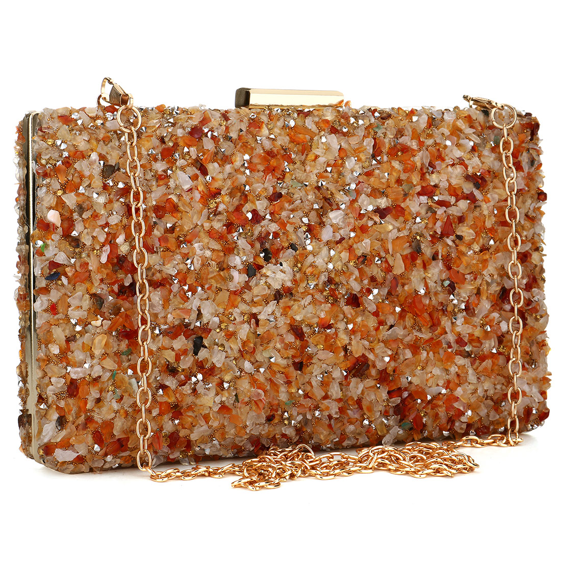 Orange Stone Women Evening Handbag Clutches Purse Lady Diamond Banquet Bag Elegant Female Wedding Party Day Clutch Bags 2019