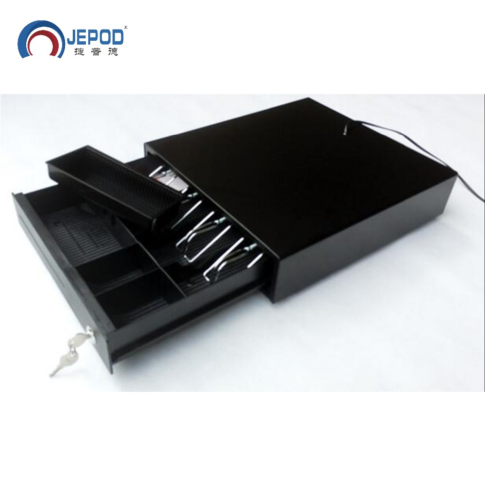 JP-002 JEPOD Cash Register Drawer POS Cash Drawer Four Grids Three Section Of The Cashbox With RJ11 Interface