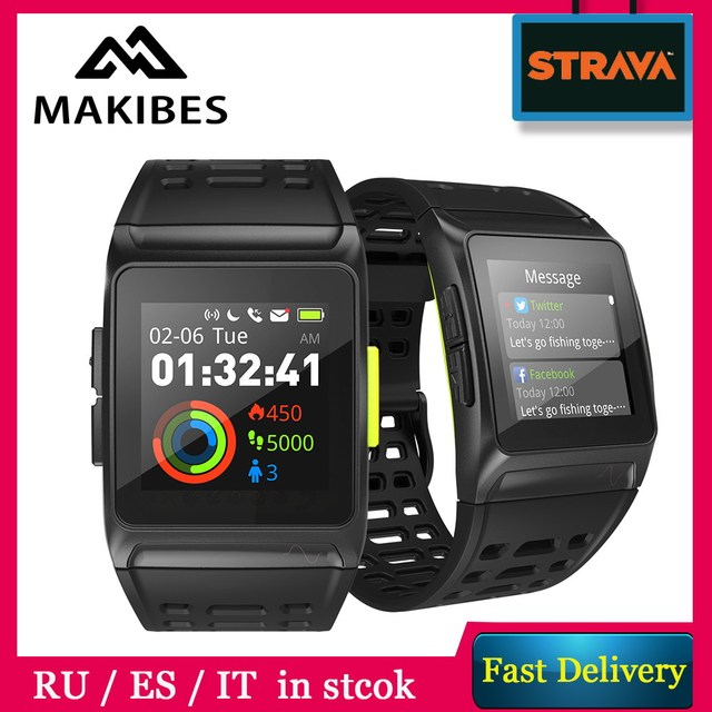 Makibes BR1 Strava Smartwatch ECG GPS SPORTS Smart Watch IP67 Waterproof Color Screen Multisport Men Bluetooth Fitness Bracelet