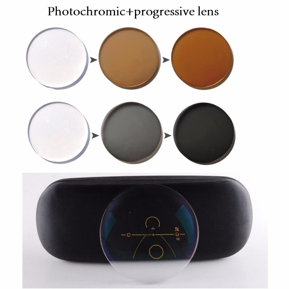 2Pcs 1 56 1 61 1 67 Photochromic Progressive Lens Reading Glasses Myopia Presbyopia Prescription Optical