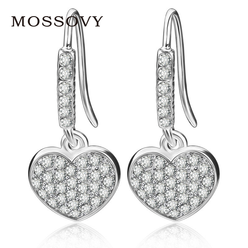 Buy heart rhinestone dangle earrings and get free shipping on AliExpress.com 823ab54e4b70