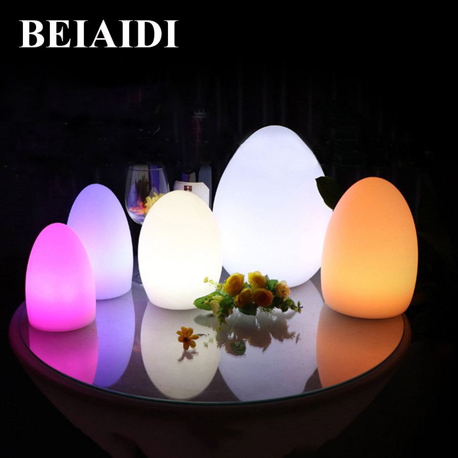 BEIAIDI Waterproof Egg Shape RGB Led Night Lamp USB Rechargeable 16 Color Outdoor Led Bar KTV Table Lamp With Remote Controller free shipping colorful led egg bar table lamp break resistant rechargeable led glow egg night light for christmas