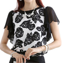 Korean Elegant Women Shirts Flower Print Blouse Ruffled Sleeve Women Tops 2017 Summer Chiffon Shirt Female Blusas Plus Size XXXL