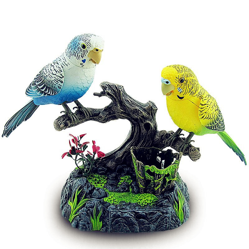 Real Life Sound Control Birds Parakeet Lovely 2 Units Parrot Electric Artificial Bird Toys Singing Bird Home Garden Decorations